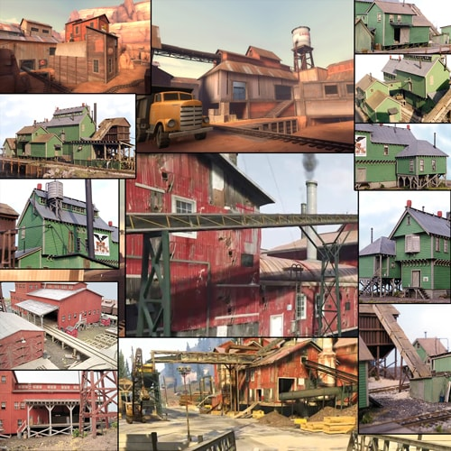 "A mood board with screenshots to help setting the visual theme for the ""Sawmill"" level."