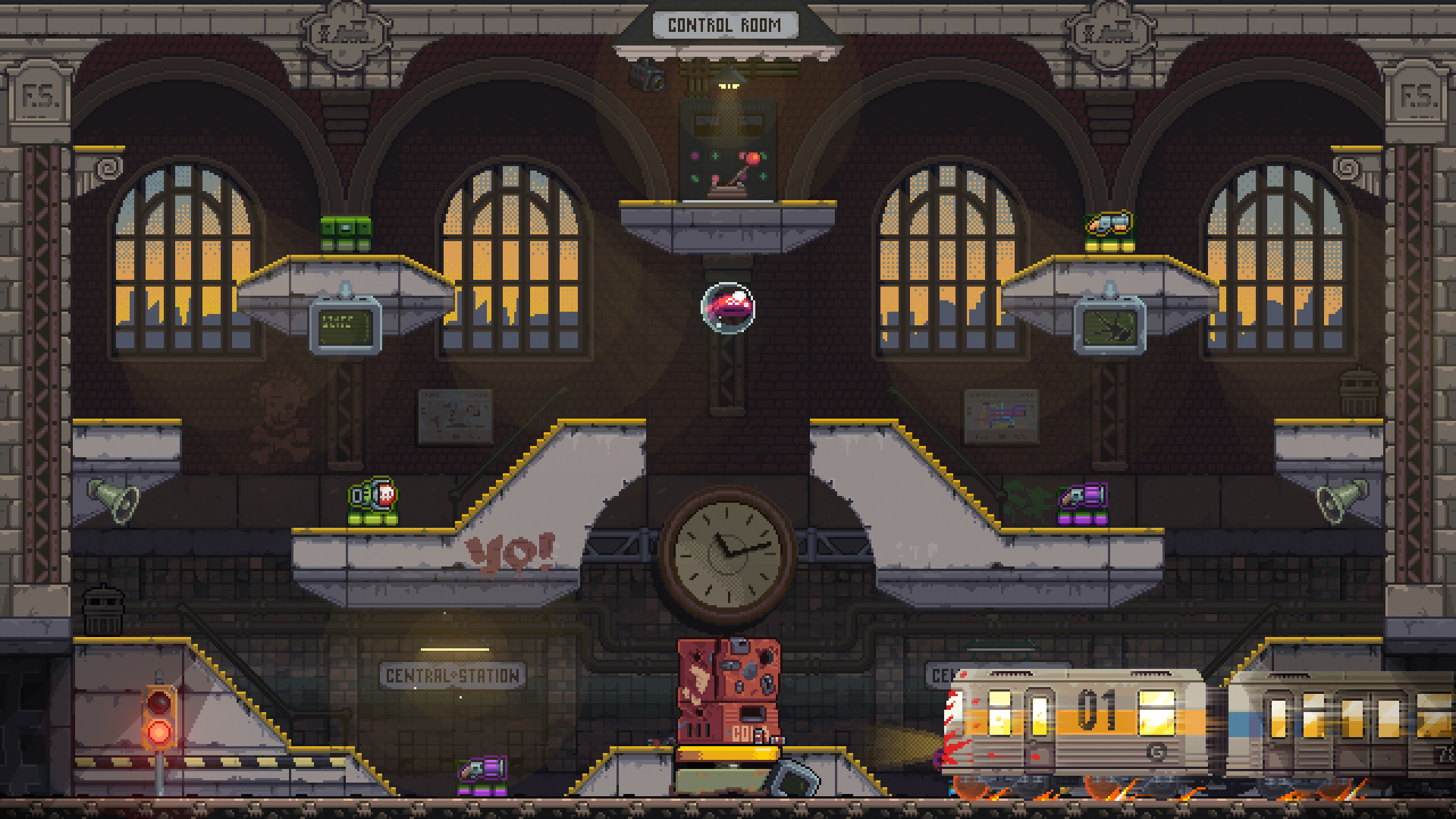 "In-game screenshot of the ""Subway"" level."