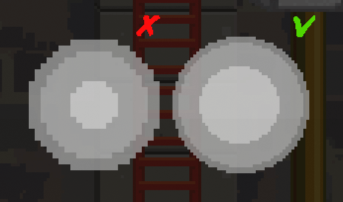 Two sprites of the same size, but with different pixel densities
