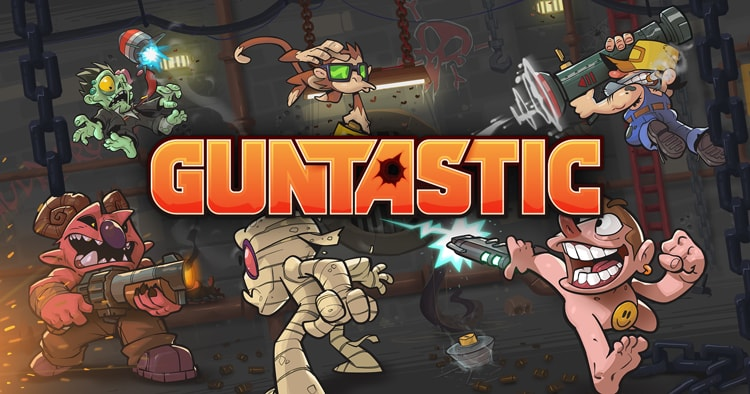 Guntastic splash screen art, which feature the logo over a combat scene